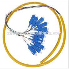 12 core singlemode pigtail ,sc/upc fiber optic pigtail, fan-out 12 fiber cable optical pigtail with 0.9mm 2.0mm 3.0mm